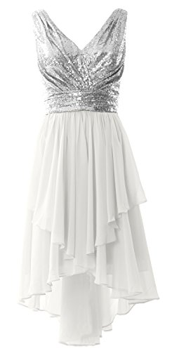 MACloth Women Straps V Neck Sequin Chiffon High Low Prom Dress Formal Party Gown Silver-White 19epDFRnY6