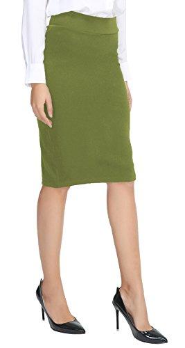 Elegante Mujer Falda Cintura alta Bodycon Verde oliva