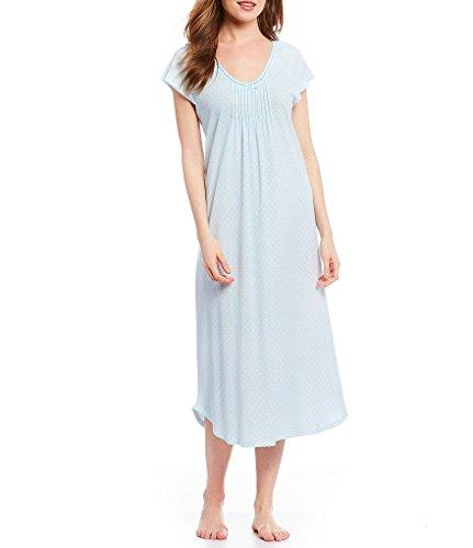 Miss Elaine Women's Cottonessa Foulard Long Nightgown (Blue Print, Medium) (Pintucked Nightgown)