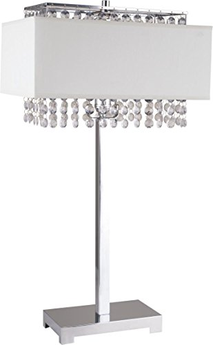 - Milton Greens Stars A733WH Shannon Crystal Table Lamp with Fabric Light Diffusing Shade, 27.5-Inch, Silver