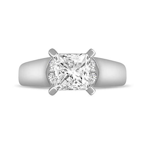 Princess Cut Cathedral Setting - Diamond Scotch 7mm Brilliant Princess Cut CZ Classic Solitaire Engagement Wedding Promise Cathedral Setting Ring for Womens Girls
