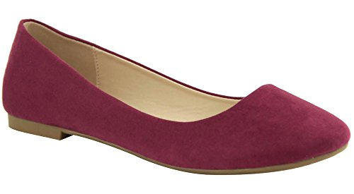 Bella Marie Mujeres Colorful Pointed Toe Ballet Flat Wine