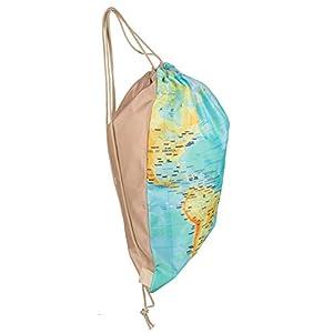 MC Trend Fashion – Bolsa con cordón, diseño de mapamundi