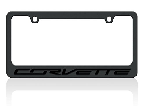 - C7 Corvette Stealth License Plate Frame - Black with Black Corvette Script