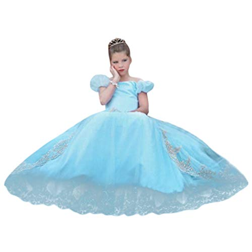 Fancy Dress Kids Girls Off Shoulder Puff Sleeve Princess Costume Pageant Cosplay Party Dress Up Clothes for Little Girl (Blue, 4-5 Years) ()
