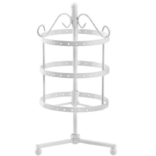 CozyCabin Vintage 72 Holes Three-layer Earring Holder Hanger Rotating Round Jewelry Rack Earring Stand Organizer Jewelry Display Stand (White) (Jewelry Tree White)