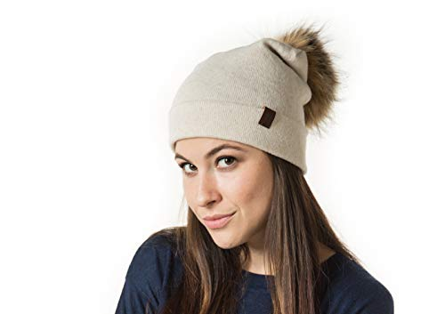 (Marino Slouchy Beanie Hat for Women - Cashmere Blend - Rabbit Fur Pompom Off White)