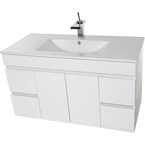 Strato Wall Mounted Bathroom Vanity Cabinet Set Bath Furniture with Single Sink (White, 40 in.)