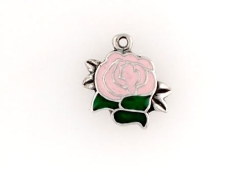 Sterling Silver Enameled Pink Rose Charm - Jewelry Accessories Key Chain Bracelet Necklace ()