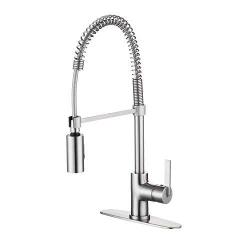 Kitchen Hole Mixer 3 - Enzo Rodi Modern Design Commercial Style Single Handle Pull Down Kithen Sink Faucets, for 1-3 Holes Installation, Made by Low-lead Solid Brass, Stainless Steel, ERF7357391AP-10