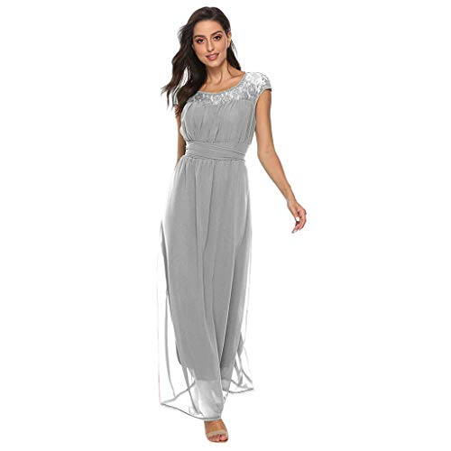 (⚡HebeTop⚡ Women's Retro Lace Vintage Short Sleeve Slim Ruched Wedding Maxi Dress Gray)