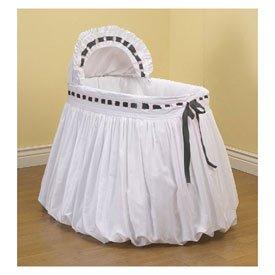 BabyDoll Pretty Ribbon Bassinet Liner/Skirt and Hood, Black, 13''x29''