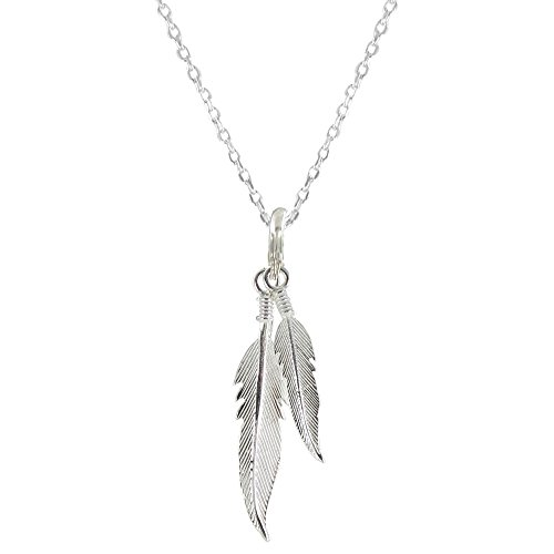 Les Poulettes Jewels - Sterling Silver Necklace Two Feathers - size 40 cm by Les Poulettes Jewels
