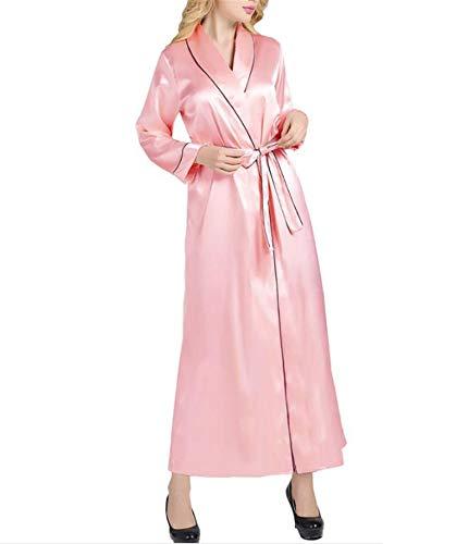Traje Ropa Pink longitud Mujer Sexy Albornoces Lujo Seda Batas Noche Mujeres De Largas Tobillo Primavera Albornoz Satén F4EwBqW