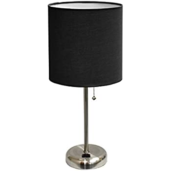 Limelights Lt2024 Blk Brushed Steel Lamp With Charging