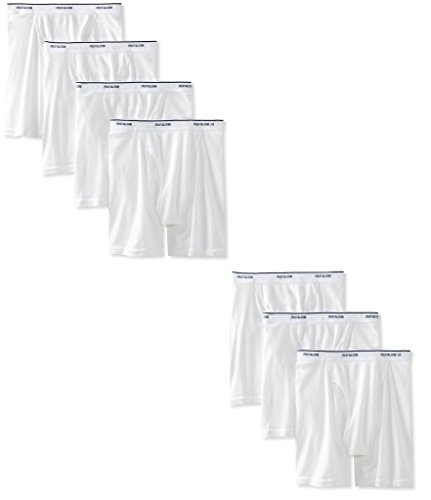 Fruit of the Loom Men's Boxer Briefs 100% Cotton Underwear (White, Medium) ()