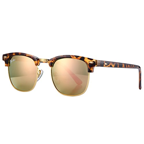 Pro Acme PA3016 Classic Crystal Lens Clubmaster Sunglasses (Havana/Pink Mirrored - Mirrored Clubmaster Sunglasses