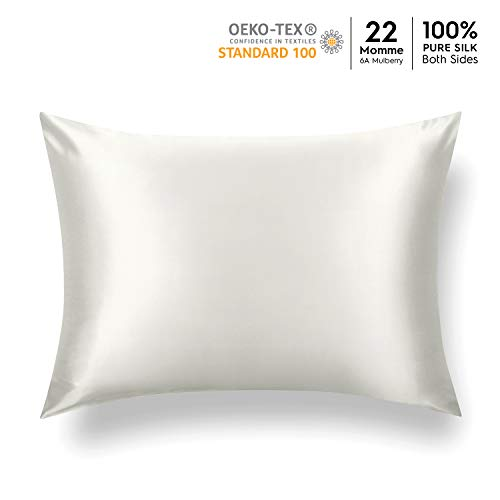 Tafts 22 Momme 100% Pure Mulberry Silk Pillowcase for Hair and Skin, Hypoallergenic, Both Sides Grade 6A Long Fiber Natural Silk Pillow Case, Concealed Zipper, Queen 20x30 inch, Ivory White