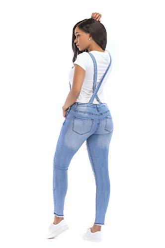 a696e11964 NAMENG Women Denim Bib Overall Distressed Stretch Twill Jumpsuits