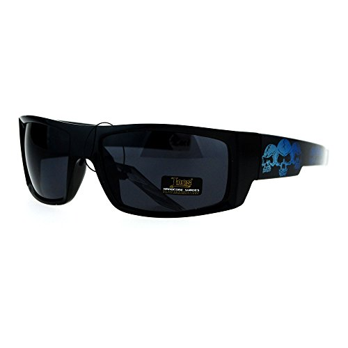 Locs Skull Print Rectangular Gangster Cholo Sport All Black Sunglasses - Guy Sunglasses