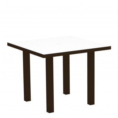 Euro Square Dining Table Finish: Textured White Aluminum Frame / Black - Euro Black Frame Square