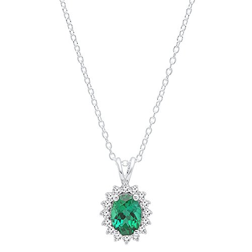 - Dazzlingrock Collection 14K 8X6 MM Oval Cut Lab Created Emerald & Round Diamond Ladies Starburst Frame Pendant, White Gold