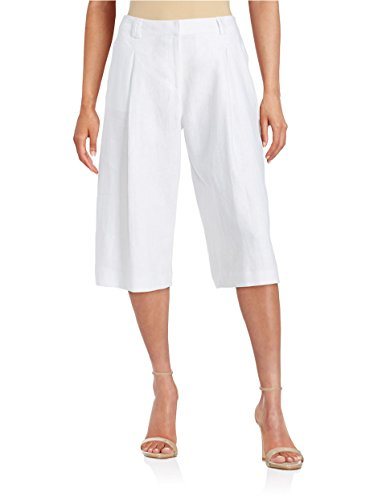 Michael Michael Kors Womens Linen Pant (MICHAEL Michael Kors Women's Pleated Linen Culottes Pants White Size 0)