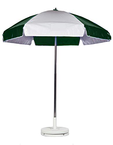 6.5' Striped Lifeguard Umbrella Fabric: Forest and White Heavy Gauge Vinyl, Tilt: With Tilt