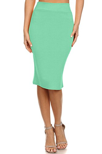 (Simlu Women's Below the Knee Pencil Skirt for Office Wear - Made in USA, Sage Blue, Medium)