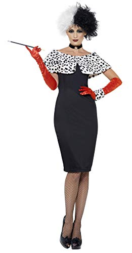 Smiffys Women's Evil Madame Costume, Dress, Gloves, Shrug, Cuff and Choker, Wings and Wishes, Serious Fun, Size 14-16, 32806