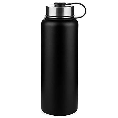 ONEB Stainless Steel Water Bottle,- Keeps Liquids Hot or Cold with Double Wall Vacuum Insulated Sweat Proof Sport Design Thermoses, Wide mouth cover,BPA-Free, (32OZ Black)