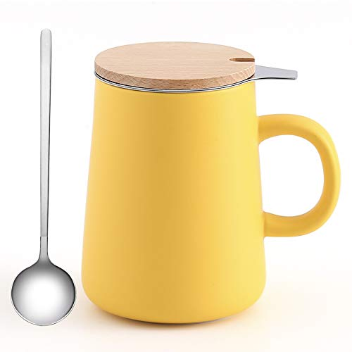J-FAMILY Porcelain Tea Mug with Infuser and Lid,Tea Infuser Cup for Loose Tea Brewing Coffee Brewing and Other Beverage Use,15 OZ,Matte Yellow