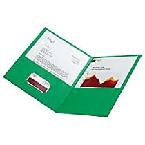 Office Depot(R) Brand Leatherette Twin-Pocket Portfolios, Light Green, Pack Of 10