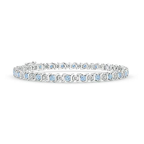 S Curl Aquamarine and Diamond Tennis Bracelet in 14K White Gold (2.5mm ()
