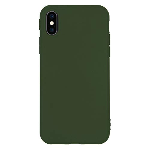 - Danbey Case for iPhone Xs, iPhone X, 5.8-inch Display, Matte Surface Slim Cover, Charming Colorful, Skin Feeling, 1.5mm Thick Flexible TPU (Matte-Dark Green)
