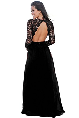 Party Dress Evening Dresses with Black Open Back Long Sleeve V-Neck for Women at Amazon Womens Clothing store: