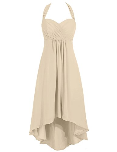 Dresses Prom Cdress Sweetheart Low Gowns Bridesmaid Women's Chiffon High Champagne Party Halter 004UqS