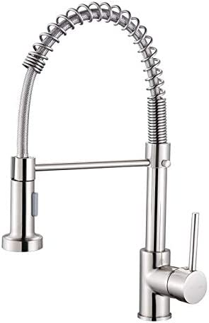 JIRUI Single Handle Pull Out Sprayer Kitchen Brass Faucet with Stream Mode, Spray Mode. Brushed Nickel 360 Degree Rotating Sink Commercial Faucet