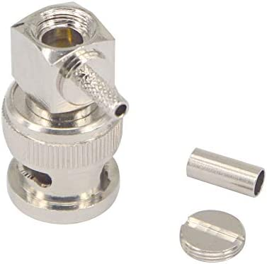 wlaniot 10pcs BNC Male Connector Right Angle 90 Degree Crimp RF Coaxial Connector for Cable RG316 RG174 LMR100
