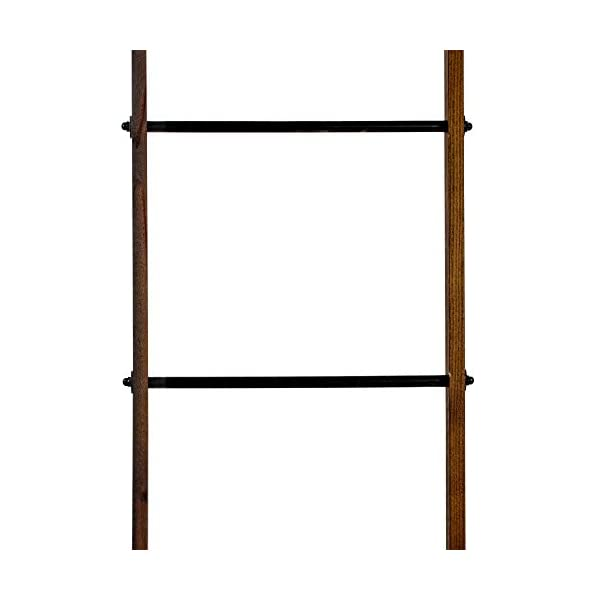 "Crystal Art Wood Metal Ladder Farmhouse Decor, 77.5"" H x 15.75"" L x 1.75"" D, Multicolored"