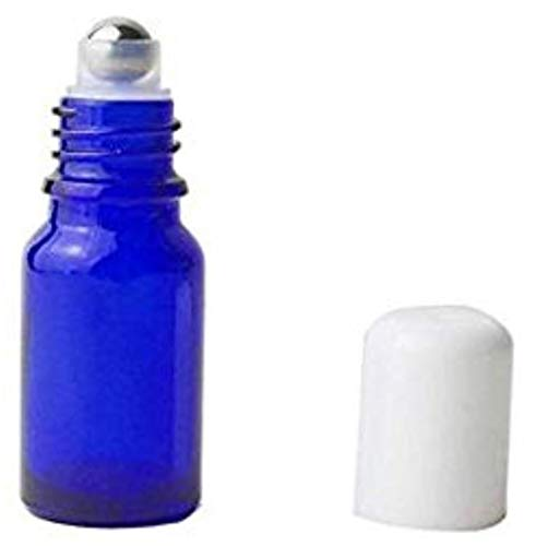 3PCS Empty Blue Glass Roll-on Bottles with Stainless Steel Roller Balls and White Cap for Essential Oil Perfumes Lip Balms Attar Container (30ml/ 1oz)