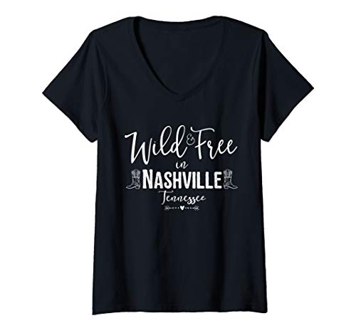 Womens Wild and Free in Nashville Tennessee V-Neck T-Shirt]()