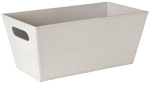 "Wald Imports White Faux Leather 13.25"" Decorative Storage/Organizer Tray"