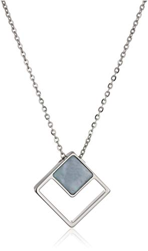 Skagen Women's Agnethe Silver-Tone Mother-of-Pearl Square Pendant Necklace, Silver/White/Blue, Size: - Pearl Square Pendant Of Mother