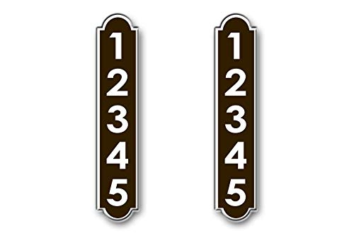 2 Reflective Vertical Mailbox Fancy Signs (Brown)