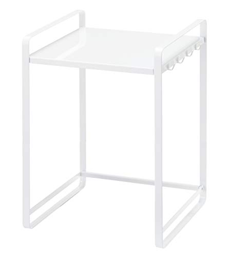 YAMAZAKI home Tower Expandable Kitchen Counter Organizer - Durable Storage Table Shelf, White