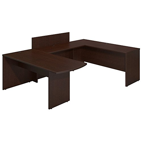 Bush Business Furniture Series C Elite 72W x 30D Peninsula U Station Desk Shell with Privacy Return in Mocha Cherry