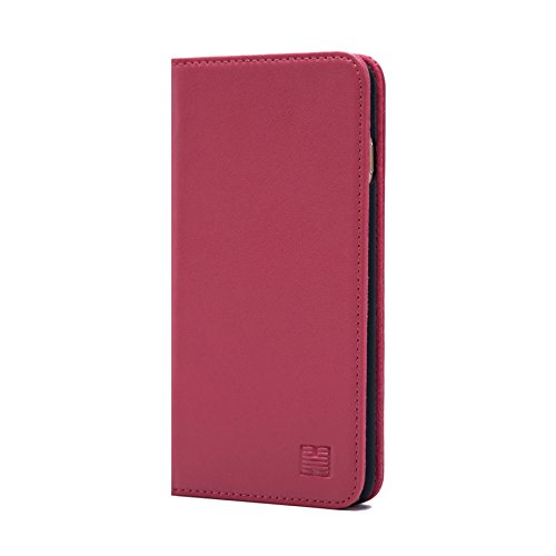 32nd Classic Series - Real Leather Book Wallet Case Cover for Apple iPhone 7 Plus & 8 Plus, Real Leather Design with Card Slot, Magnetic Closure and Built in Stand - Rose Pink ()