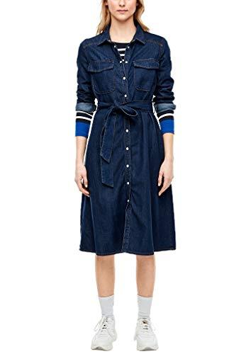 s.Oliver RED Label Damen Jeanskleid mit Druckknopfleiste