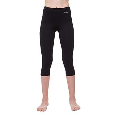 NIRLON Capri 3/4 Yoga Pants Sides Pockets High Waist Workout Black Leggings for Women Regular & Plus Size at Women's Clothing store